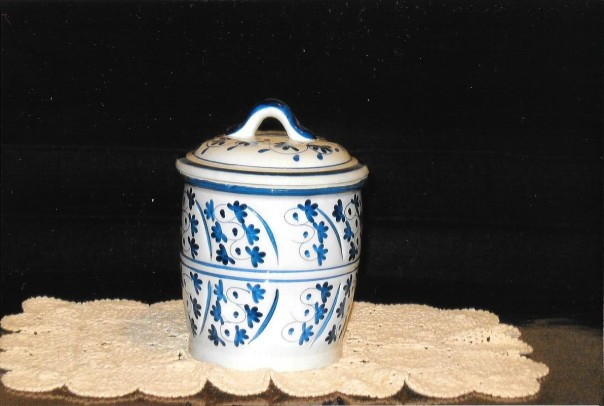 Blue and White jar with lid